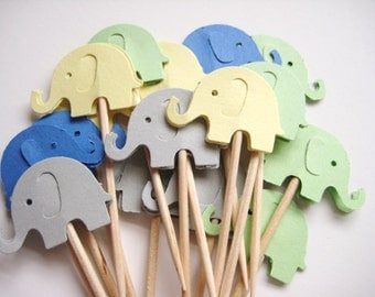 24 Gray Yellow Green Blue Elephants Party Picks - Cupcake Toppers - Toothpicks - Food Picks - die cut punch FP321