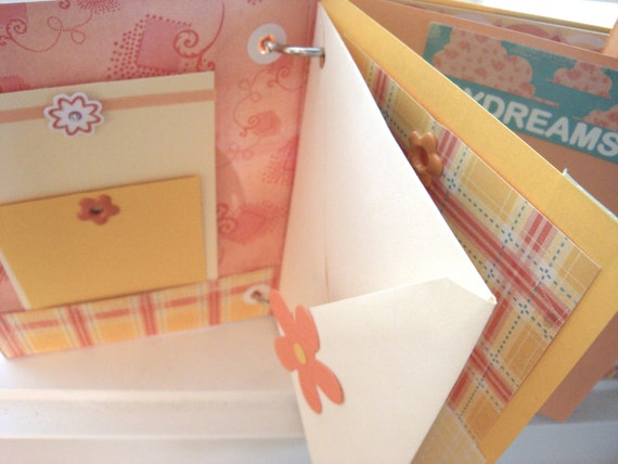 Baby Book Mini Scrapbook DESTASH. Brag Book.  Baby Girl Scrapbook. Elephant. Kids Scrapbook.  Toddler Photo Album. 6 x 6 Mini.