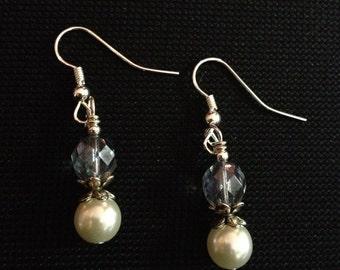 Blue Pearl & Crystal Earrings