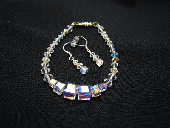 SALE Clear Aurora Borealis Swarovski Cube and Bicone Bracelet Earring Set Wedding Prom WAS 35.00
