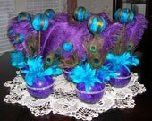 Purple and Teal Peacock Themed Wedding or Special Event Centerpiece