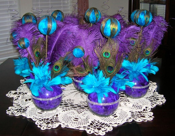 Purple And Teal Peacock Themed Wedding on Row Of Spirals