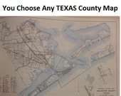 """You Choose Any Texas County Map    12 1/2""""x9 1/2"""" Vintage 1979 Industrial Decor"""