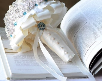 Vintage Bridal Brooch Bouquet - Pearl Rhinestone Crystal - Silver Teal Blue Ivory -One Day RUSH ORDER Available - BB028LX