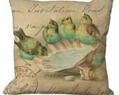 Aqua & Green Birds on a Sea Shell Bird Bath in Choice of 14x14 16x16 18x18 20x20 22x22 24x24 26x26 inch Pillow Cover