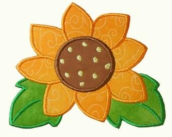 Sunshine Flower Applique Embroidery Machine Design