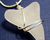 Triangle Shaped Frosted White Sea Glass Necklace Summer Gift For Her