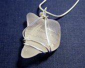 Uniquely Shaped Frosted White Sea Glass Necklace Summer Gift For Her