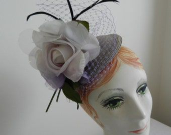 Kentucky Derby Gray Milan Straw Hat with Lilac Flower and Feathers with Lilac Veiling