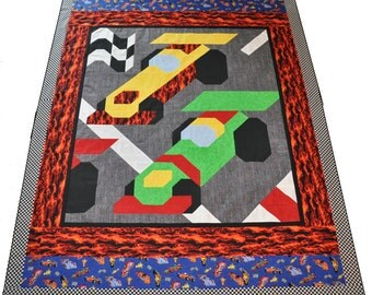 Twin Race Cars Quilt Pattern Comes With Muiltiple Sizes