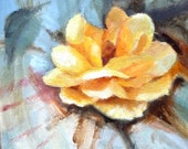 A Yellow Rose Original Small Oil Painting One Of A Kind Yellow Blue Green