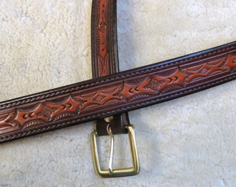 Hand-tooled Leather Belt in Tans and Brown- B23013 - FREE shipping inside USA