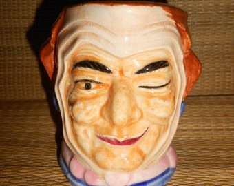 """Crone Winking Toby Jug Dickens Old Woman Made By """"Wales China"""" (Japan) Antique Collectible Figural Mug."""