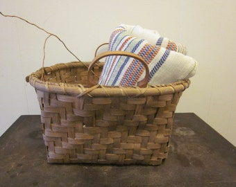 Large Square Rustic Vintage Basket With Wood Handles Splint Wood Farmhouse Country