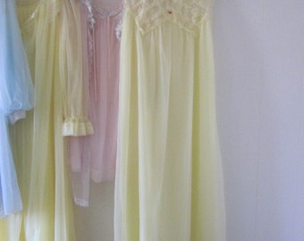Yellow Vintage Gay Lure Nightgown Lingerie Nightie 1950s Romantic Size Medium