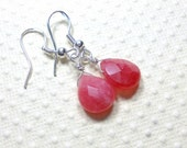 Candy Jade Dangle Earrings, Red Earrings, Drop Earrings, Sterling Silver, Women's Jewelry, Gemstone Earrings