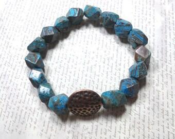 Blue Sky jasper Nugget Bracelet, Stretch Bracelet, Womens Jewelry,