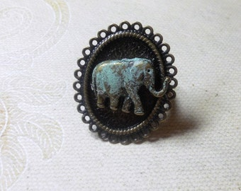 Elephant Ring, Brass Ring , Blue Elephant Ring, Adjustable Elephant Ring, Womens Jewelry,