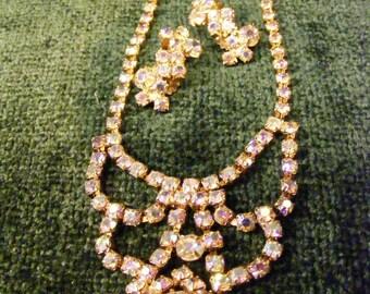 Pink Aurora Borealis Tiara Style Rhinestone Choker and Clip Earring Set
