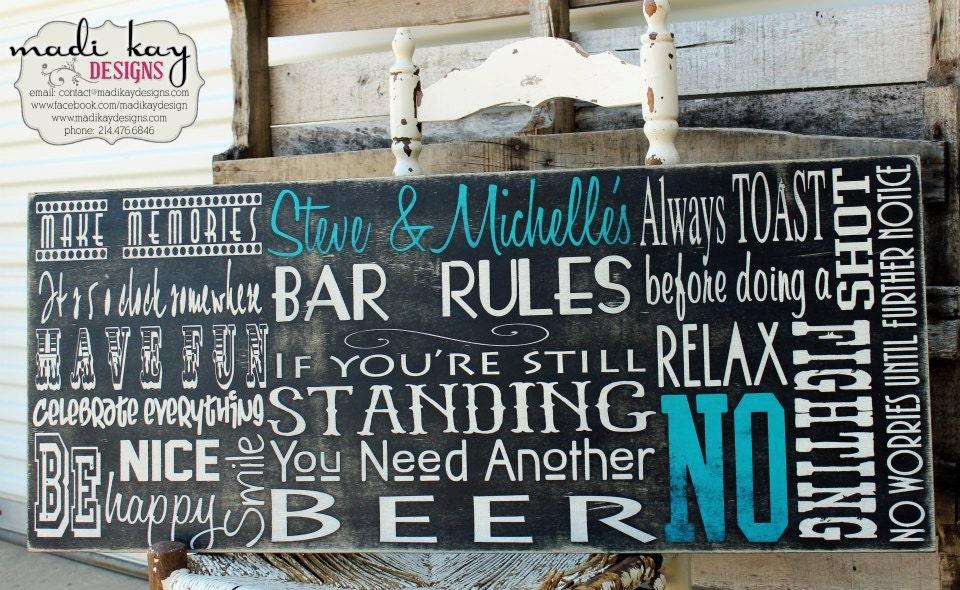 Man Cave Pub Signs : Personalize bar rules sign man gift cave custom pub