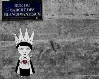 Paris Heart  Graffiti Photos -  Graffiti Paris France  8x10  Fine Art Print Photography Rues, Red, Heart, Girl