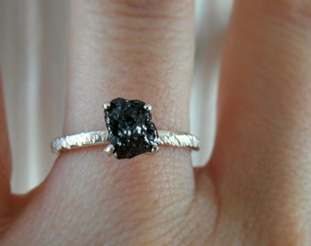 raw rough black diamond- frosty - solitaire-promise- engagement ring