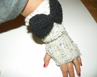 Fingerless Gloves with a Bow  Hand Crochet One of a Kind