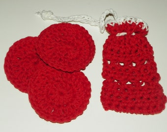 Soap saver pouch and face cloths/ makeup remover Spice Red with a White Trim Set of Four Hand Made