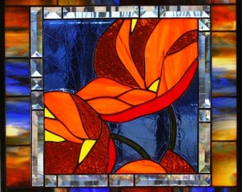 Stained Glass Large Panel California Deep Orange Poppies with Multicolor Border