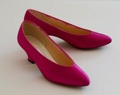 Magenta High Heels Pink Size 7 Dyeables Wedding Shoes Bridesmaid Pink Bright Hot Pink Almond Toes Seven