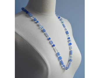 Blue Necklace Big Top Circus Stripes Periwinkle Blue  Cane Glass Bead Necklace Purply Blue Asymetrical Blues Cheerful Fun