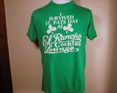 Vintage 1980's St. Patricks Day Green Tshirt El Rancho Lounge Large