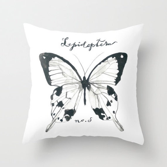 Butterfly Naturalist Home Decor Watercolor Art Pillow Cover- Lepidoptera Study