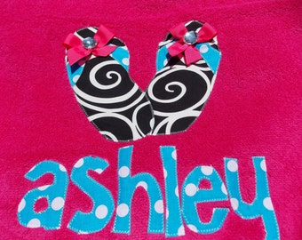 Personalized Towel applique name great for beach, bath.