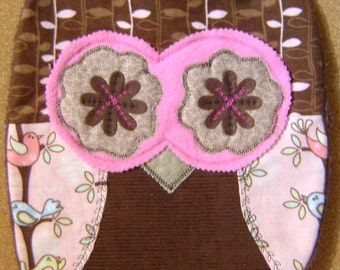 Handmade Brown n Pink Owl Pillow w/Wings Perfect  Gift  For Any Occasion