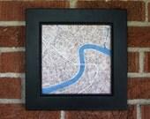 New Orleans 8x8 Print Sepia Cobblestone Blue Watercolor City Map Print
