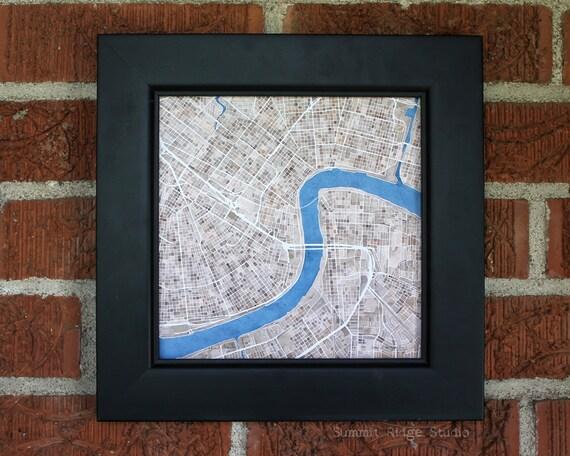 New Orleans 8x8 Print Sepia Cobblestone Blue Watercolor City