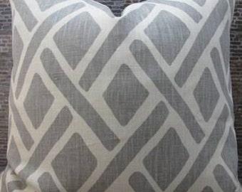 Designer Lumbar Pillow Cover  -  Lumbar 10 x 20- Lattice Treads Lagoona Gray