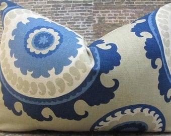 SALE Designer Pillow Cover  - 12 x 16, 12 x 18 - Ponderosa Suzani Blue & Tan -