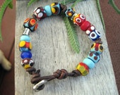Bracelet Sterling Silver Bead Colorful Bright Etched Lampwork Glass Beads