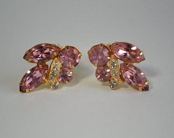 Vintage 1960s Pink Eisenberg Earrings - Wedding Rhinestones - Bridal Fashions