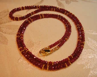 Genuine Ruby Gemstone Necklace, Gold vermeil or Sterling Silver, Artisan Handcrafted in America