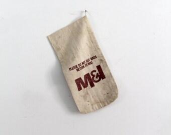 vintage bank bag, canvas money bag, graphics textile