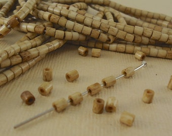 40 Heishi Bone beads 3mm Tube beads Brown Tea Dyed Natural Beads Tiny Small tube beads