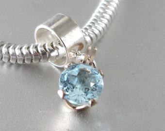 1ct Natural Blue Topaz Sterling Silver Charm Fits All Slide On Bracelets