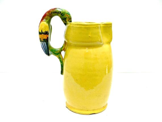 Yellow Pottery Pitcher - Hand Painted Italian Ceramic