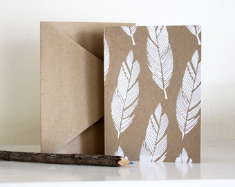 Screen Printed Feather Cards (set of 4)