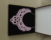 Large Pink Crochet Necklace - Crochet Jewelry - Lace Holiday Accessories - Lace Crochet Collar