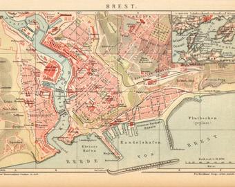 1904 Original Antique Dated City Map of Brest, France