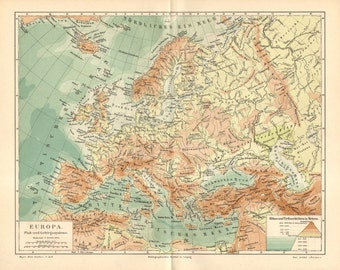 1890 Original Antique Relief Map of Europe